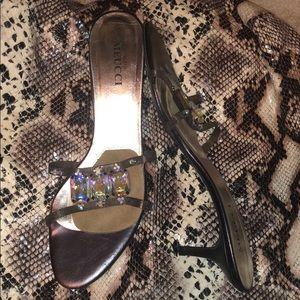 Jewel Metal Sesto Meucci Kitten Heel sandals NWOT